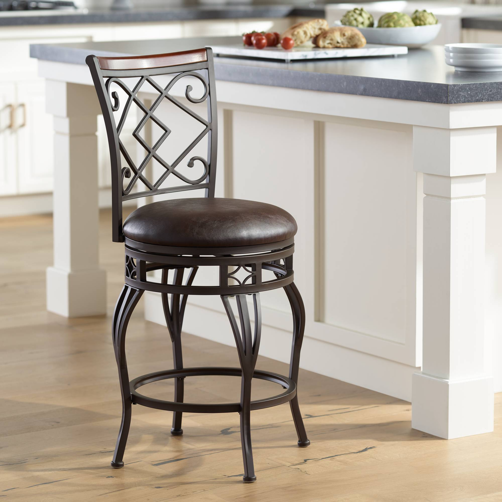 Surprising Details About Hartley 25 Wood And Bronze Metal Swivel Counter Stool Pabps2019 Chair Design Images Pabps2019Com