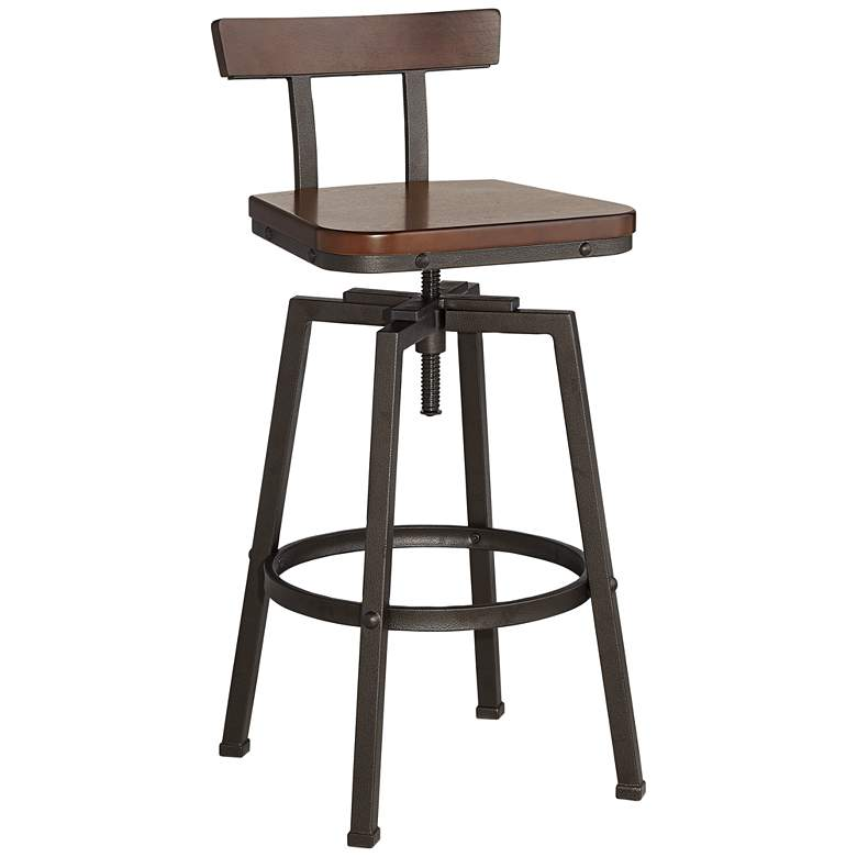 Roark Dark Wood and Bronze Adjustable Swivel Barstool