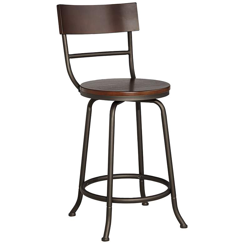 "Langdon 24 1/4"" Wood and Bronze Swivel Counter Stool"