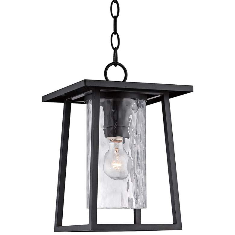"Quoizel Lodge 13 1/2"" High Black Outdoor Hanging Light"