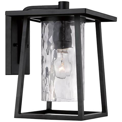 "Quoizel Lodge 12 1/2"" High Black Outdoor Wall Light"