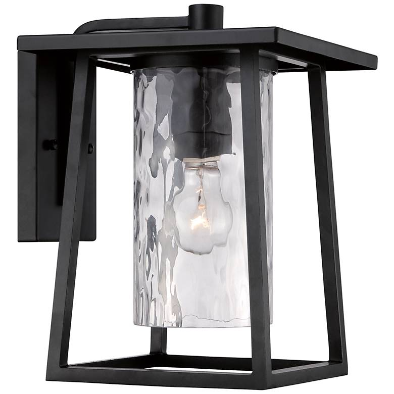 """Quoizel Lodge 12 1/2"""" High Black Outdoor Wall Light"""