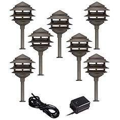 Landscape lighting kits complete landscaping sets lamps plus pagoda 9 piece complete outdoor led landscape lighting set aloadofball Choice Image
