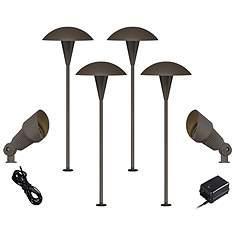 Outdoor path lighting lamps plus mushroom bronze 8 piece outdoor led landscape lighting set aloadofball Choice Image