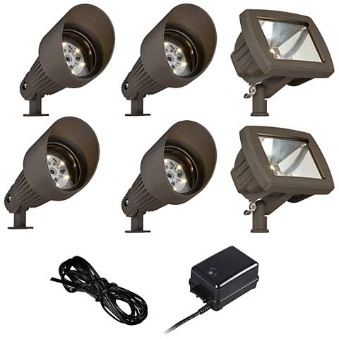 LED Spot and Path Light Landscape Kit in Bronze