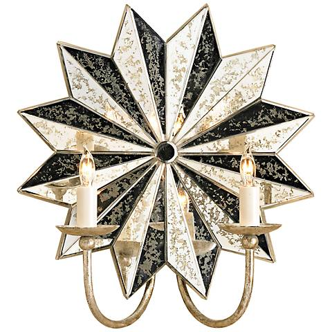 """Currey and Company Starburst 15"""" High Silver Wall Sconce"""