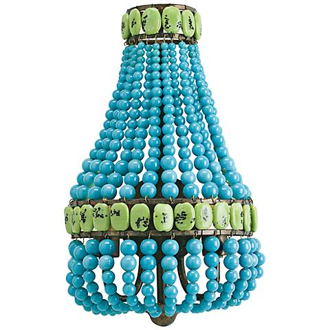 """Currey and Company Lana 16"""" High Turquoise Wall Sconce"""