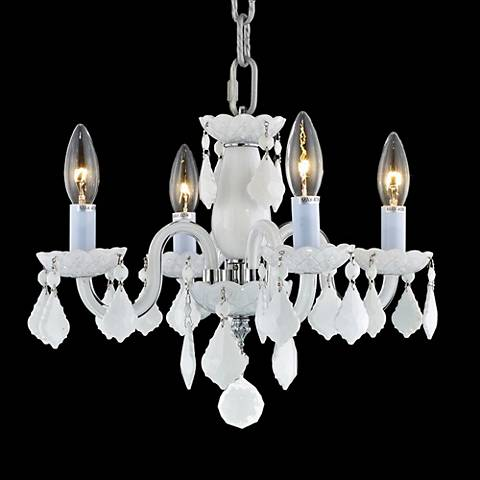 "Rococo Collection 15"" Wide White Chandelier"