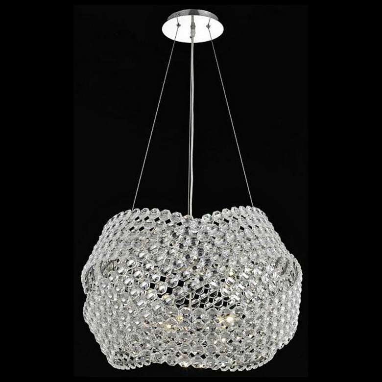 "Electron Collection 20"" Wide Chrome and Crystal Pendant"