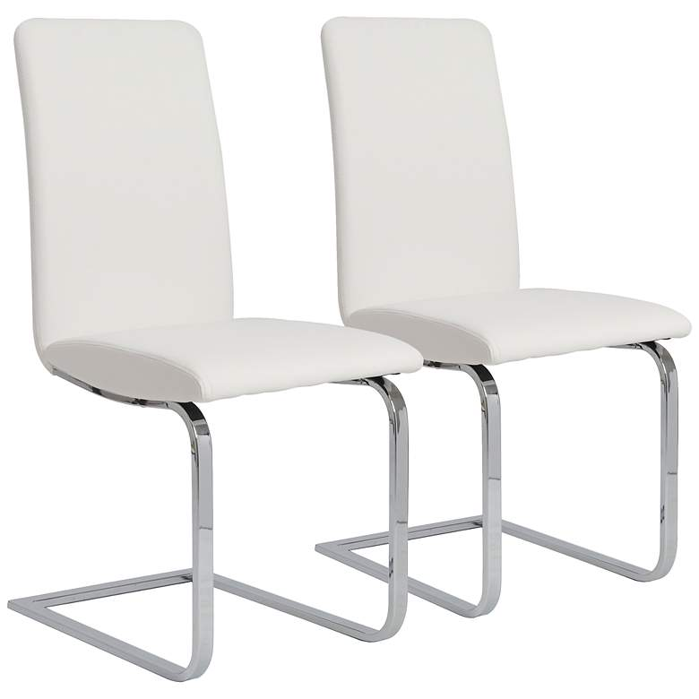 Set of 2 Cinzia White and Chrome Side Chairs