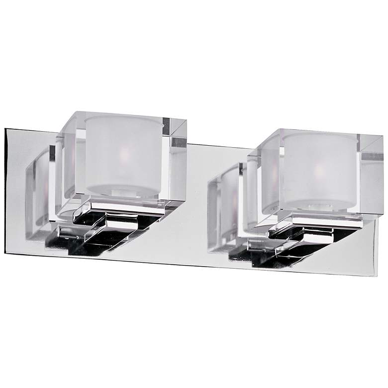 "Maxim Cubic 14 1/2"" Wide Polished Chrome Bath Light"
