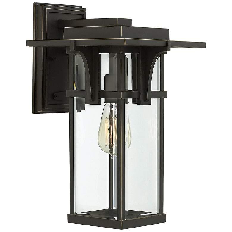 """Manhattan Bronze 15"""" High Clear Glass Outdoor Wall Light"""