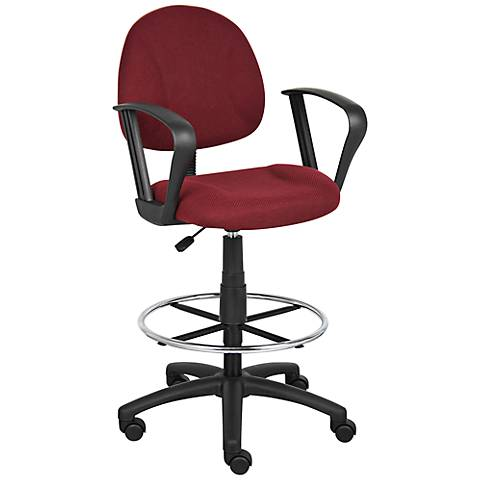 Boss Loop Arm Burgundy Tweed Drafting Stool with Footring