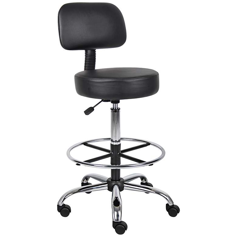 Boss Caressoft Black Medical/Drafting Stool with Footring