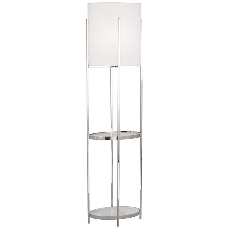 Robert Abbey Colonnade Nickel Floor Lamp with Shelf