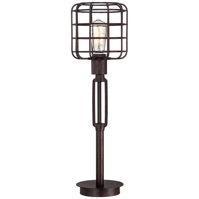 Franklin Iron Works Bronze Industrial Cage Accent Lamp