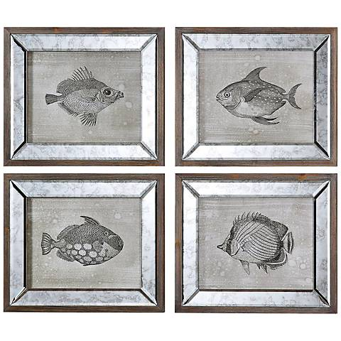 "Uttermost Set of 4 Mirrored Fish 19"" High Wall Art"