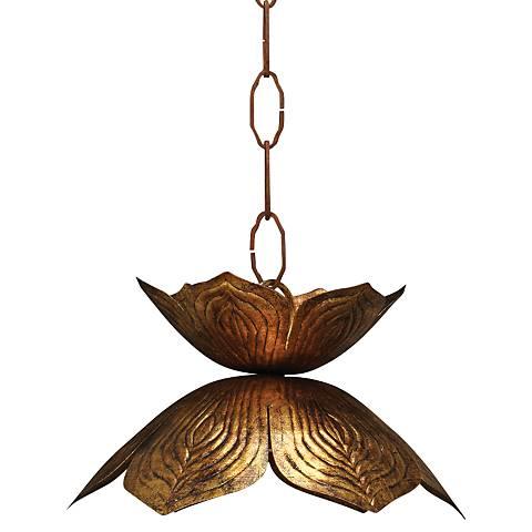 "Jamie Young Flowering Lotus 10 1/2"" Wide Gold Mini Pendant"