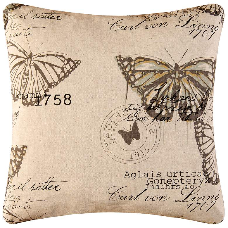 """Butterflies 18"""" Square Decorative Printed Pillow"""
