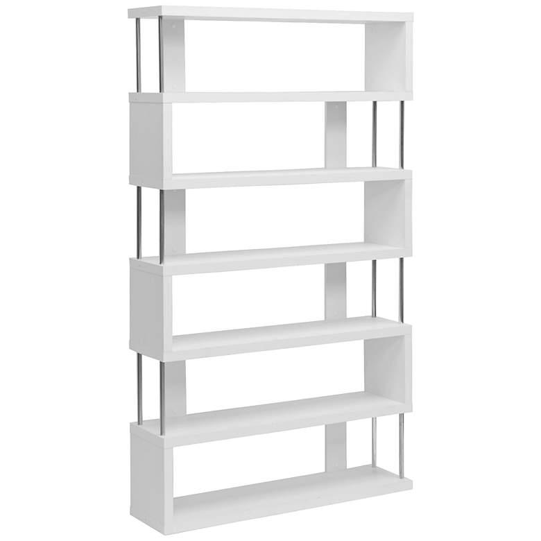 "Barnes 75 1/2"" High White Finish Six-Shelf Modern Bookcase"