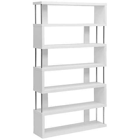 Barnes White Six-Shelf Modern Bookcase
