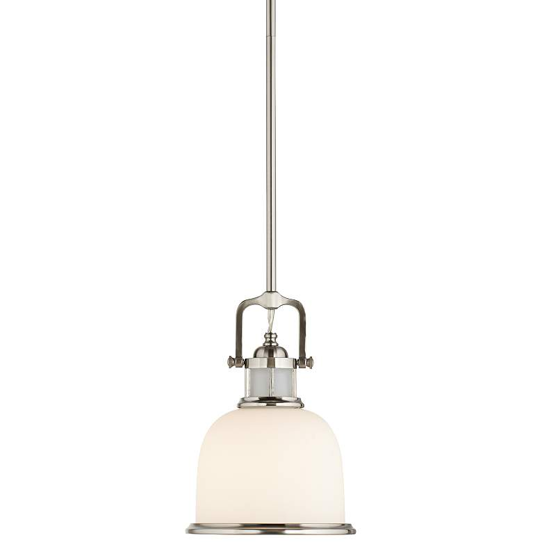 """Feiss Parker Place Brushed Steel 8"""" Wide Mini Pendant  Light"""