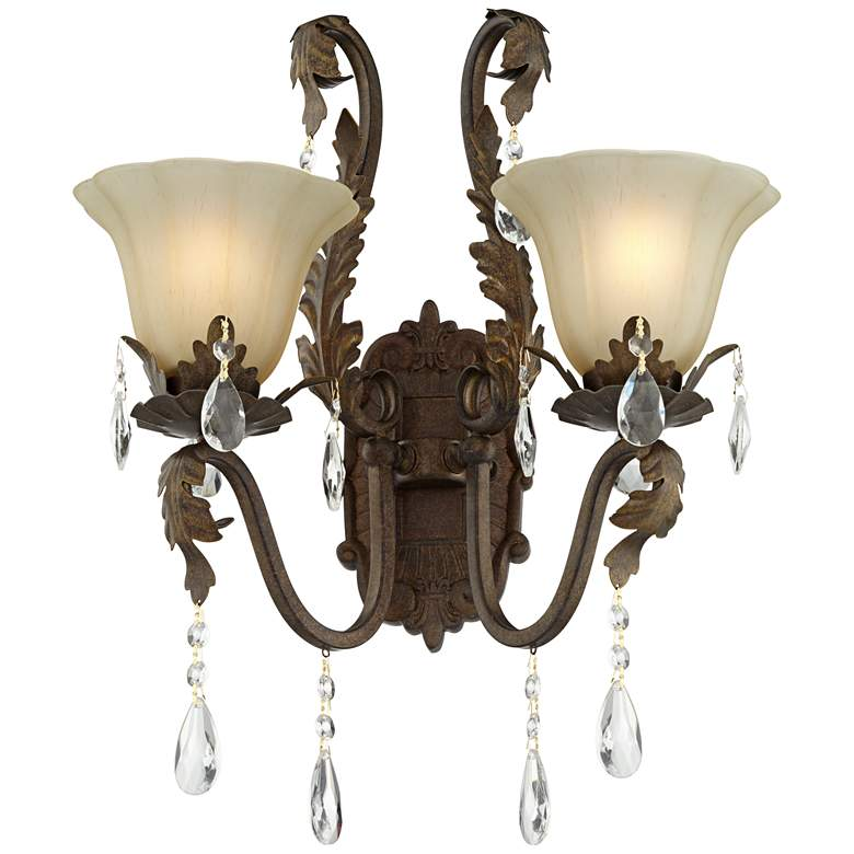"""Iron Leaf 15 1/2"""" Wide Bronze and Crystal Wall Sconce"""