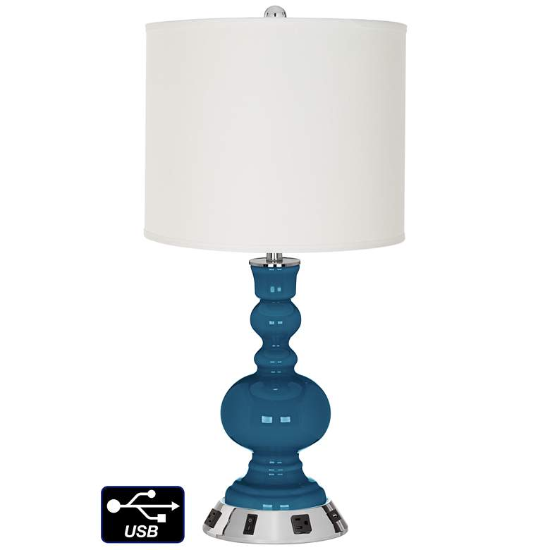 Off-White Drum Apothecary Lamp - 2 Outlets and USB in Bosporus