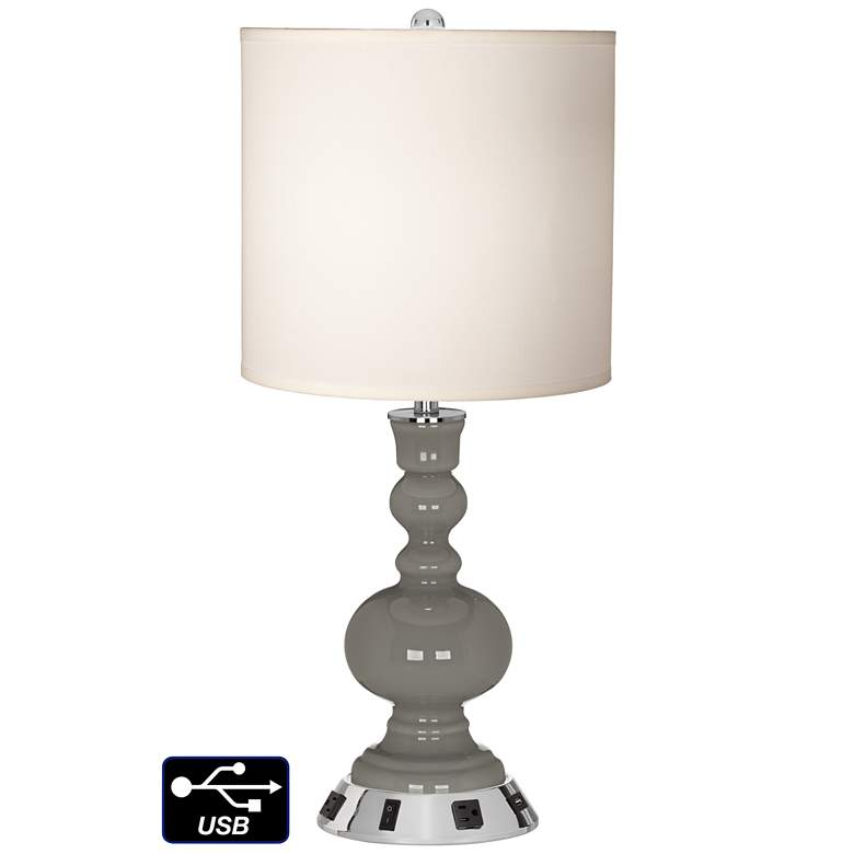 White Drum Apothecary Lamp - 2 Outlets and USB in Gauntlet Gray
