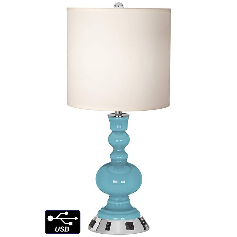 White Drum Apothecary Lamp - 2 Outlets and USB in Nautilus