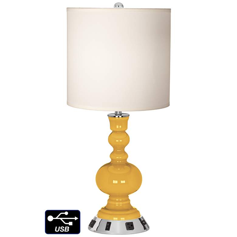 White Drum Apothecary Lamp - 2 Outlets and USB in Goldenrod