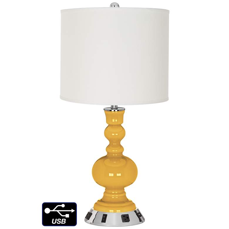 Off-White Drum Apothecary Lamp - 2 Outlets and USB in Goldenrod