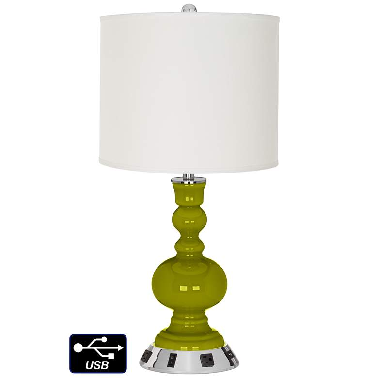 Off-White Drum Apothecary Lamp - Outlets and USB in Olive Green
