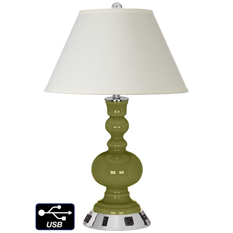 White Empire Apothecary Lamp - 2 Outlets and USB in Rural Green
