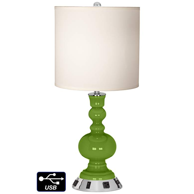 White Drum Apothecary Lamp - 2 Outlets and USB in Gecko