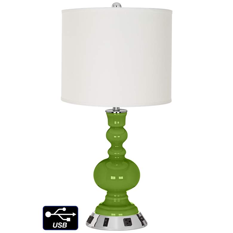Off-White Drum Apothecary Lamp - 2 Outlets and USB in Gecko