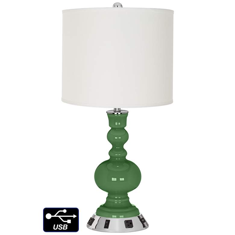 Off-White Drum Apothecary Lamp - Outlets and USB in Garden Grove