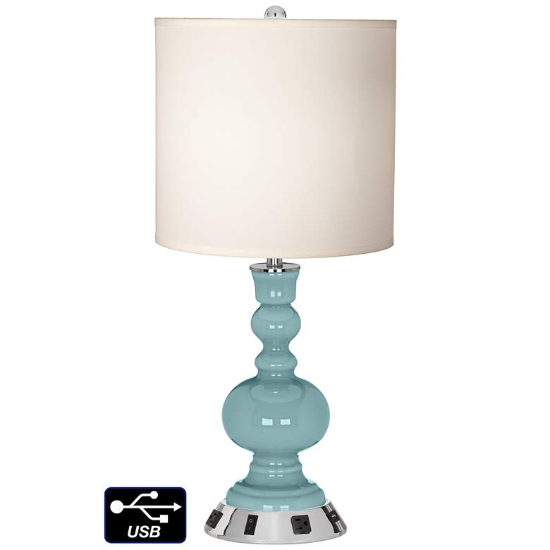 White Drum Apothecary Lamp - 2 Outlets and USB in Raindrop