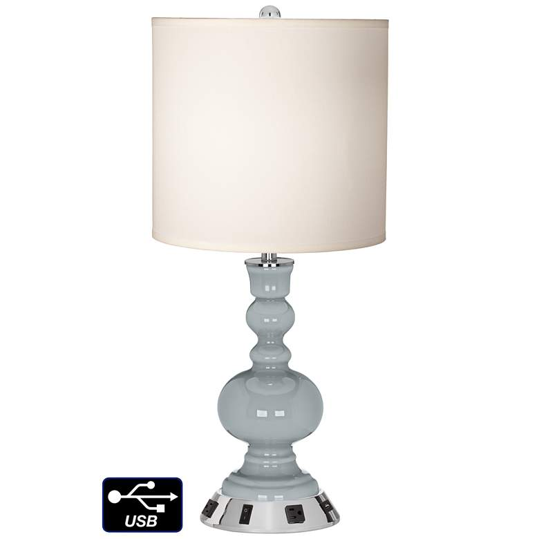 White Drum Apothecary Lamp - 2 Outlets and USB in Uncertain Gray