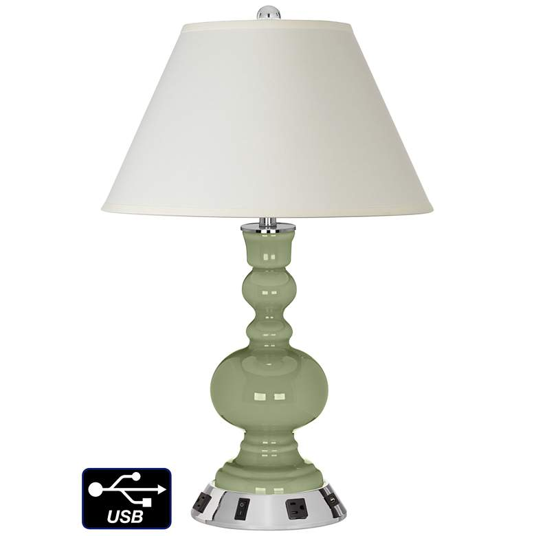 White Empire Apothecary Lamp - Outlets and USB in Majolica Green