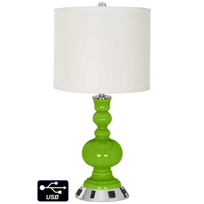 Off-White Drum Apothecary Lamp - 2 Outlets and USB in Neon Green