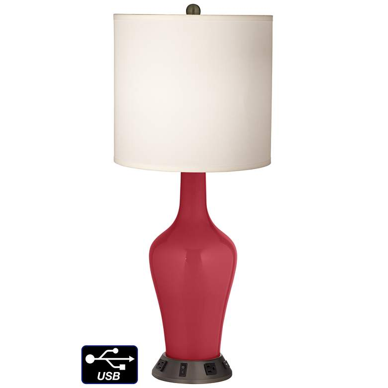 White Drum Jug Table Lamp - 2 Outlets and USB in Samba