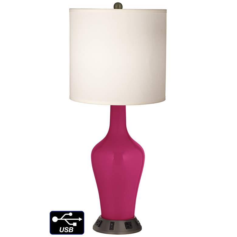 White Drum Jug Table Lamp - 2 Outlets and USB in Vivacious