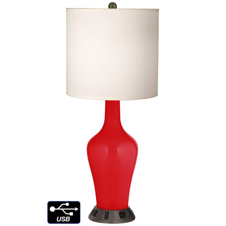 White Drum Jug Table Lamp - 2 Outlets and USB in Bright Red