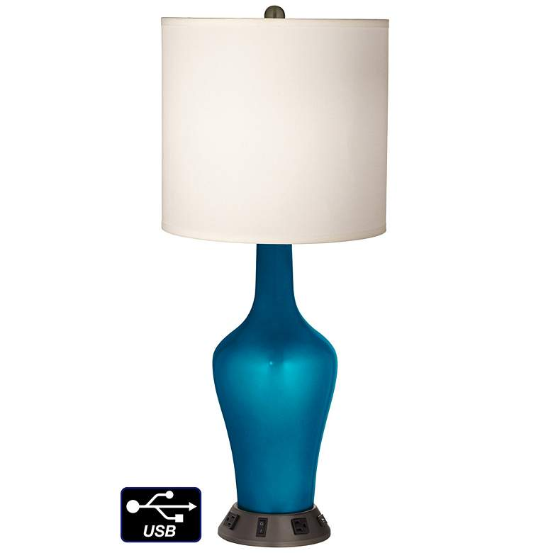 White Drum Jug Lamp - 2 Outlets and USB in Turquoise Metallic
