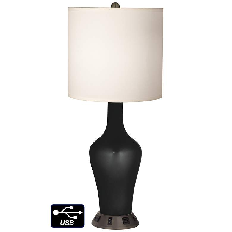 White Drum Jug Table Lamp - 2 Outlets and USB in Caviar Metallic
