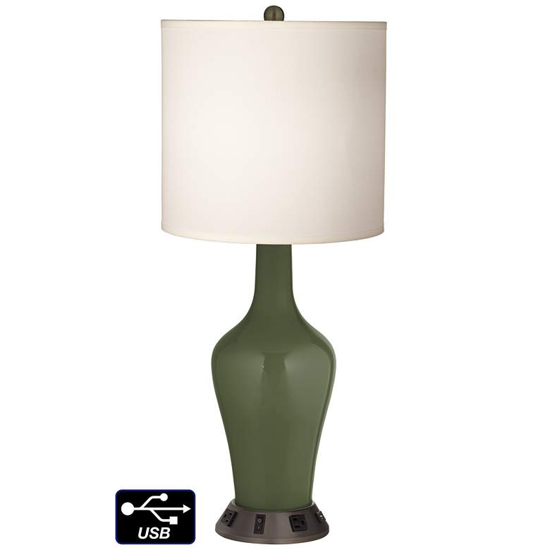 White Drum Jug Table Lamp - 2 Outlets and USB in Secret Garden