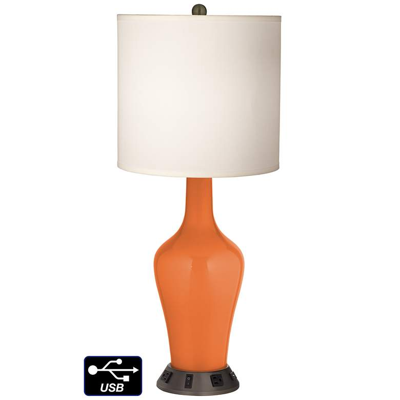 White Drum Jug Table Lamp - 2 Outlets and USB in Celosia Orange