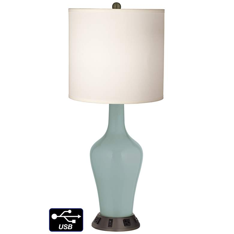 White Drum Jug Table Lamp - 2 Outlets and USB in Aqua-Sphere