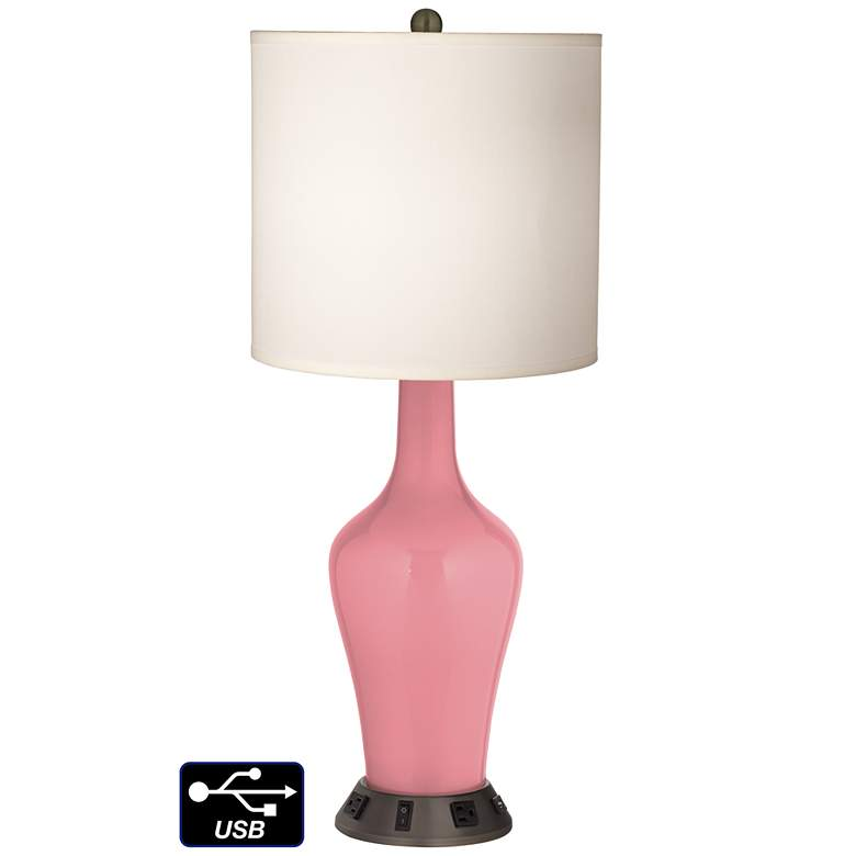 White Drum Jug Table Lamp - 2 Outlets and USB in Haute Pink